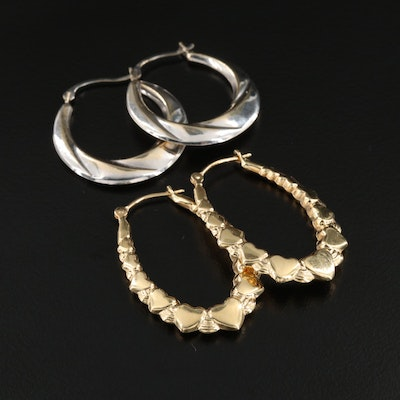 14K Yellow Gold Heart Motif Oval Hoop and 10K White Gold Hoop Earrings