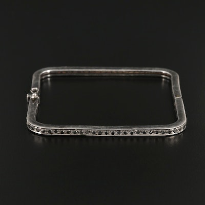 Sterling Silver Diamond Square Bracelet