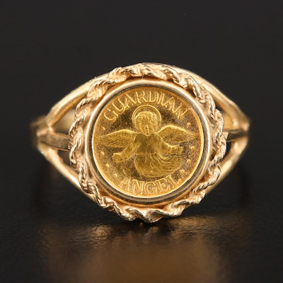 10K Yellow Gold Ring With Fine Gold Guardian Angel Medallion