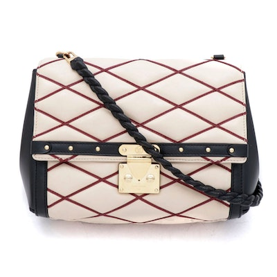 Louis Vuitton Natural/Rouge Lambskin Leather Malletage Pochette Flap Bag