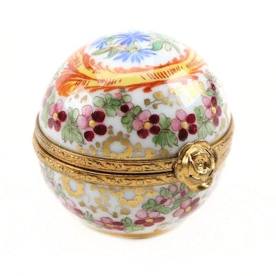 Hand-Painted Porcelain Floral Limoges Box