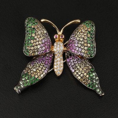 18K Yellow Gold Diamond, Ruby, Sapphire and Tsavorite Butterfly Brooch
