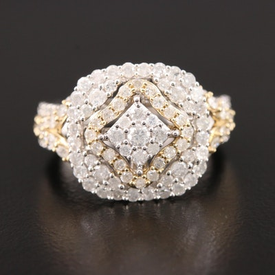 10K White Gold 1.48 CTW Diamond Ring with Yellow Gold Accents