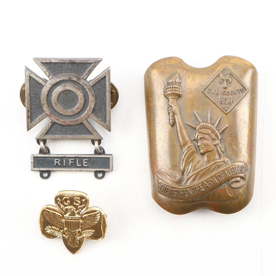 BSA Neckerchief Slide, Girl Scouts Lapel Pin, U.S. Army Marksmanship Badge