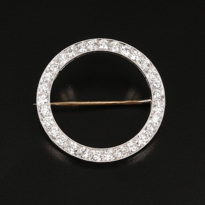 Vintage Platinum 2.55 CTW Diamond Circle Brooch