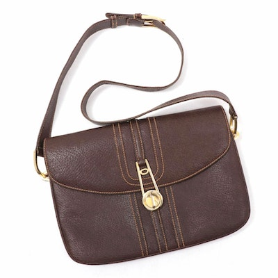 Gucci Boutique Brown Leather Flap Front Shoulder Bag with Contrast Stitching