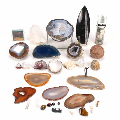 Agate, Amethyst, Crocidolite and Other Mineral Specimens and Fossils