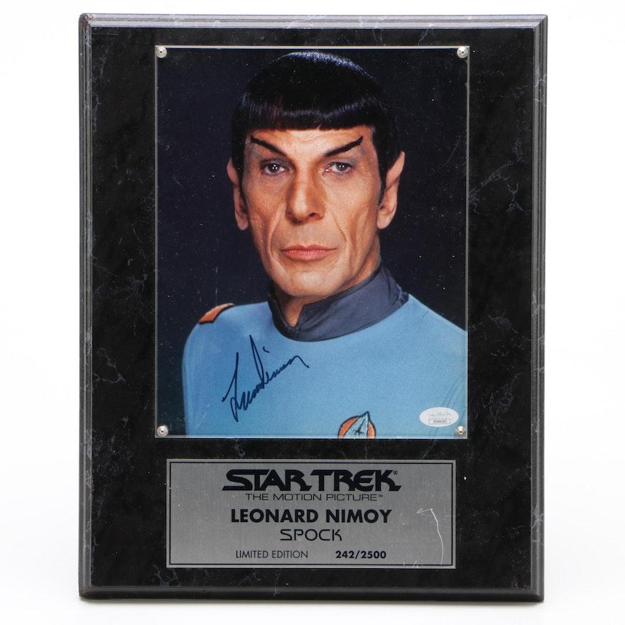 "Leonard Nimoy ""Mr. Spock"" Signed Star Trek Photo Print Plaque, JSA COA"