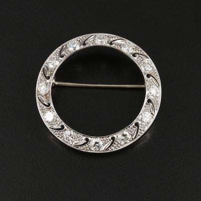 Vintage Platinum 2.16 CTW Diamond Concentric Brooch