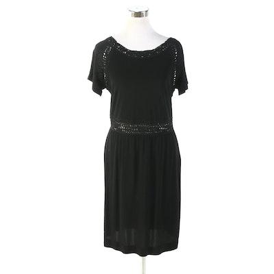 Fendi Short Sleeve Dress in Black with Scooped Soutache Back