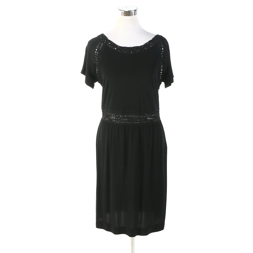 Fendi Short Sleeve Dress in Black with Scooped Soutache Back