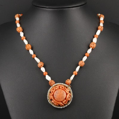 Asian Style 14K Yellow Gold, Carved, Coral and Cultured Pearl Beaded Necklace