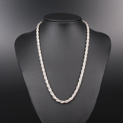 Sterling Silver Rope Style Necklace