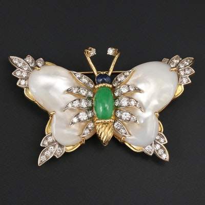 18K Jadeite, Sapphire, Mother of Pearl and 2.48 CTW Diamond Butterfly Brooch