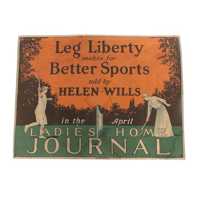 Tennis Legend Helen Wills Advertising Banner, Early to Mid 20th Century