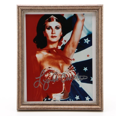 "Lynda Carter Signed ""Wonder Woman"" Super Hero Framed Photo Print"