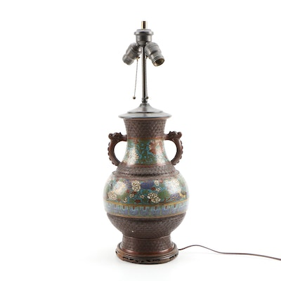 Japanese Champlevé Bronze Vase Table Lamp with Carved Wooden Base