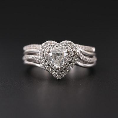 14K White Gold 1.02 CTW Diamond Soldered Ring Set