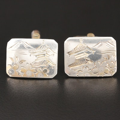 Sterling Silver Engraved Tie Clip and Cufflinks Set