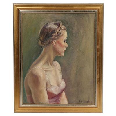 Ballerina Portrait Oil Painting, Mid-20th Century