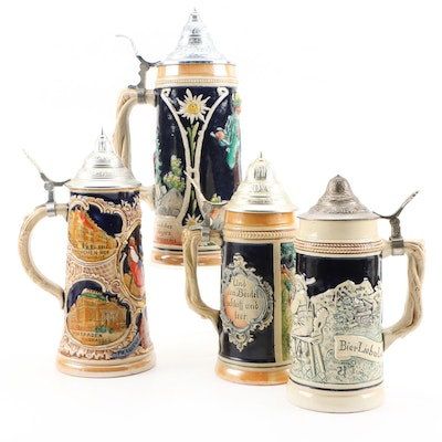 German Ceramic Beer Steins, Mid to Late Twentieth Century