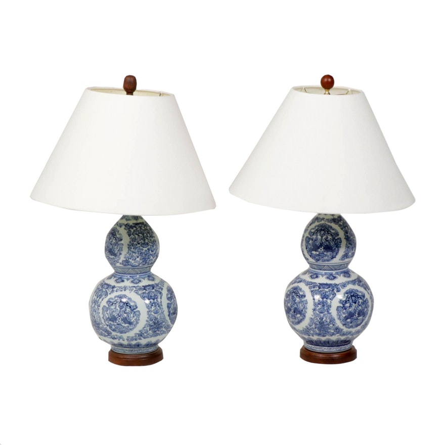 Ralph Lauren Chinese Blue and White Porcelain Table Lamps