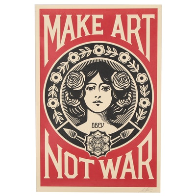 "Shepard Fairey Offset Lithograph ""Make Art Not War"""
