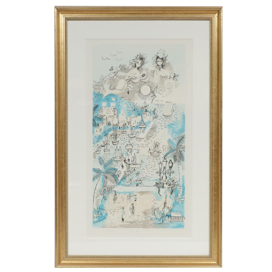 """Charles Cobelle Color Lithograph """"Safe Harbor,"""" Mid to Late 20th Century"""