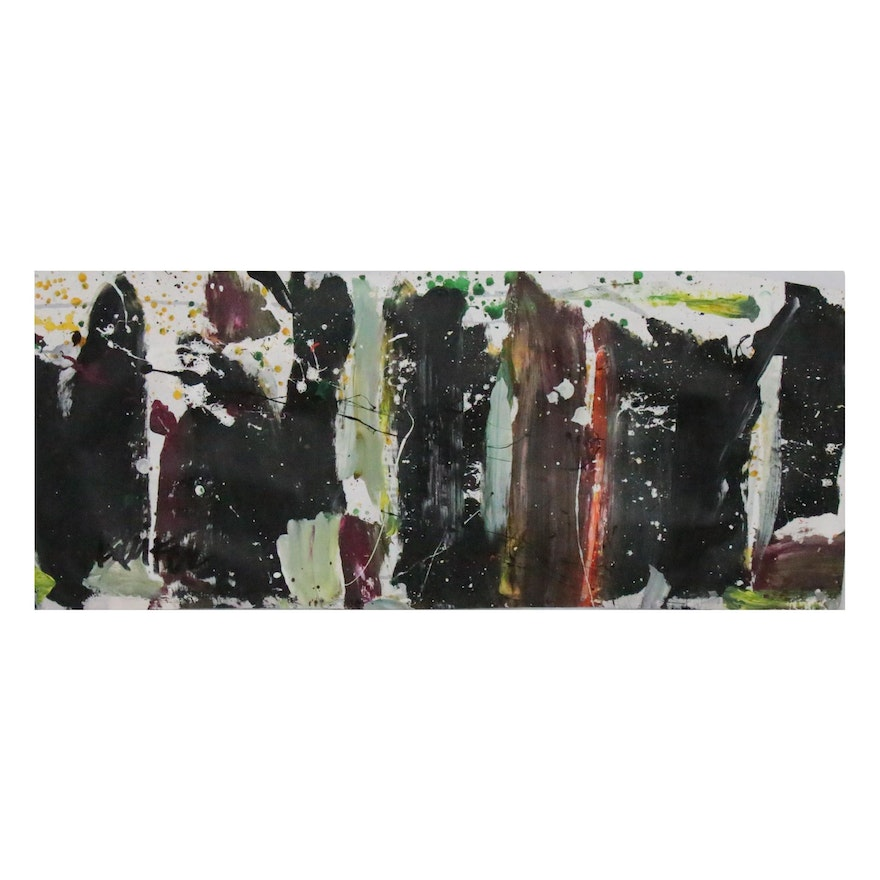 """Robbie Kemper Acrylic Painting on Unstretched Canvas """"Vertical Marks"""""""