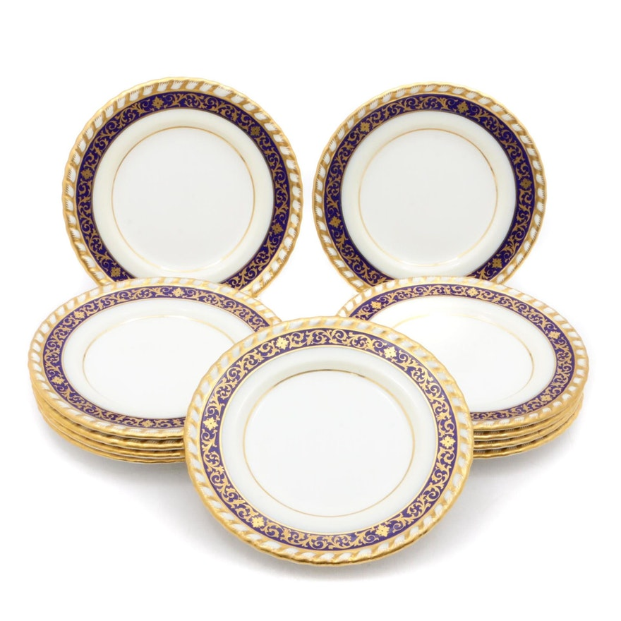 Tiffany & Co. for Minton Colbalt and Gold Porcelain Bread and Butter Plates