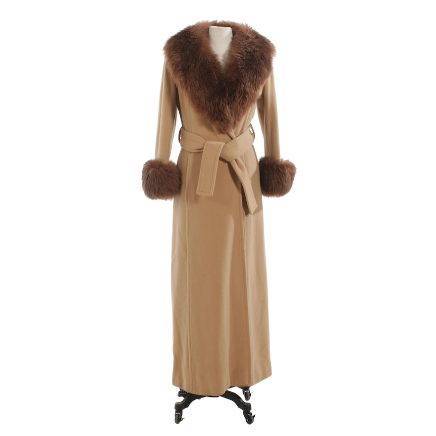 Full-Length Wool Coat with Tie Belt and Brown Shearling Trim, Vintage