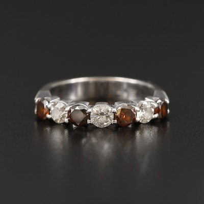 14K White Gold 1.05 CTW Diamond Band Featuring Brown Diamonds