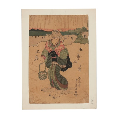 Utagawa Sadafusa Woodblock Print of Clam Gatherer