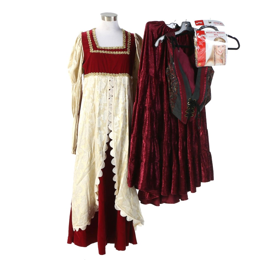 Women's Medieval Style Costumes with Rubie's Maiden Wig
