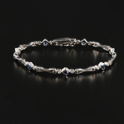 14K White Gold Sapphire and Diamond Bracelet