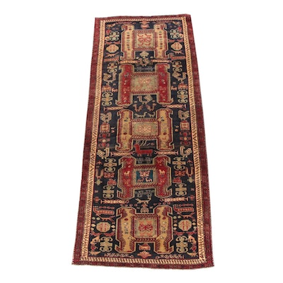 4'4 x 10'10 Hand-Knotted Persian Akstafa Wool Long Rug