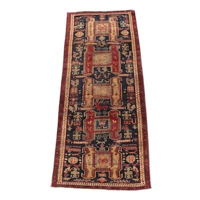 4'4 x 10'10 Hand-Knotted Persian Akstafa Wool Long Rug