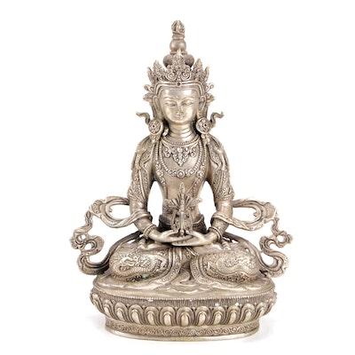 Southeast Asian Silvered Brass Buddha Amitayus Sculpture, 20th Century
