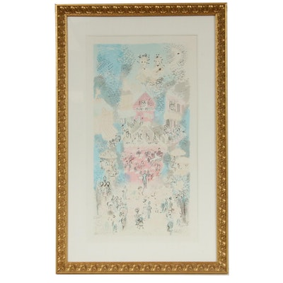 "Charles Cobelle Color Lithograph ""Village Concert,"" Mid to Late 20th Century"