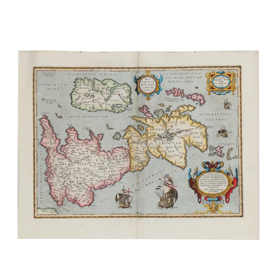 "Abraham Ortelius Map ""Britannicarum Insularum Typus"" from ""Parergon"", 1624"