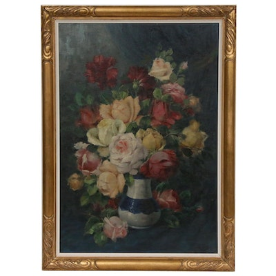E. Collo Still Life of Flowers Oil Painting, Late 19th to Early 20th Century