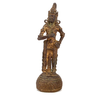 Southeast Asian Bronze Deity Sculpture, Late 19th to Early 20th Century