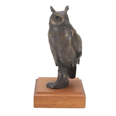 Chester Comstock Bronze Great Horned Owl Sculpture, 1981