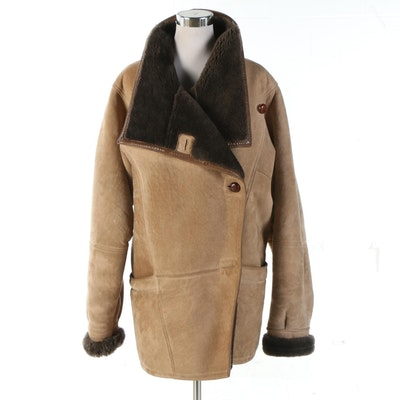 Women's Argentinean Sheepskin Shearling Coat with Leather Trim, Vintage
