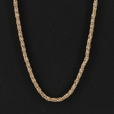14K Yellow Gold Twisted Rope Chain Link Necklace