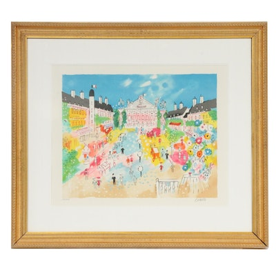 Charles Cobelle Cityscape Color Lithograph, Mid to Late 20th Century