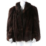 Beaver Fur Stole Jacket with Sleeves from Reckinger Furs, 1940s Vintage