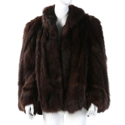 Dyed Muskrat Fur Stole Jacket with Sleeves from Reckinger Furs, 1940s Vintage