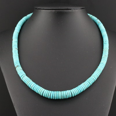 Beaded Turquoise Graduated Necklace With Sterling Silver Clasp