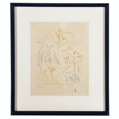"""Salvador Dali Drypoint Etching """"Adam and Eve"""", 1974"""